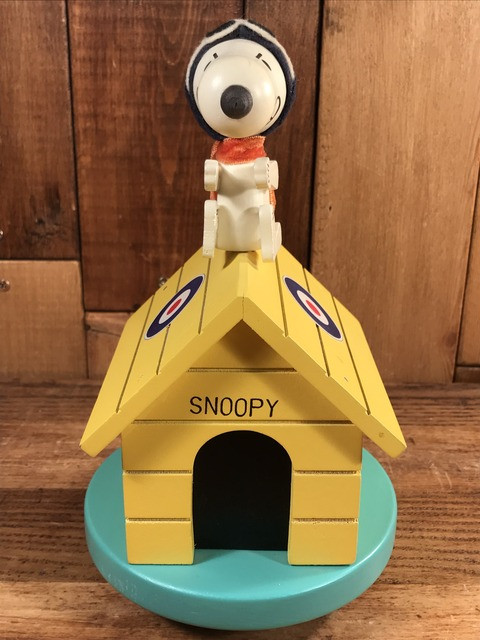 "Vintage Peanuts Snoopy Red Baron ""Flying Ace"" Music Box (3)"