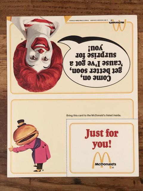 "Vintage McDonald's ""Good Luck! Ronald McDonald"" Flyer Card (4)"