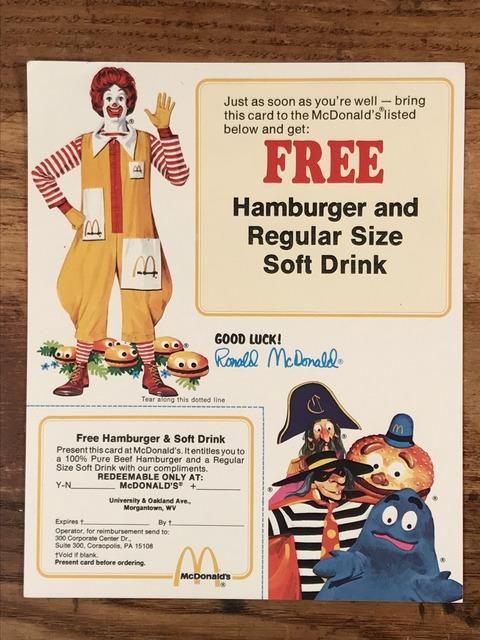 "Vintage McDonald's ""Good Luck! Ronald McDonald"" Flyer Card (1)"