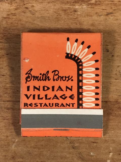 Vintage Smith Bros Indian Village Restaurant Matchbook (1)