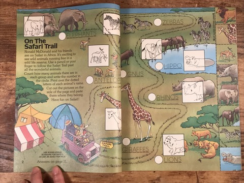 "Vintage McDonaldland Fun Times ""Fun On Safari"" Magazine (9)"