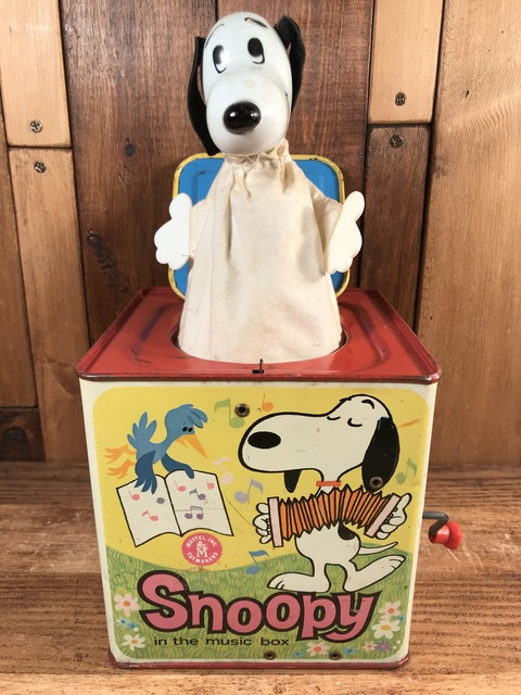 Vintage Mattel Peanuts Snoopy In The Music Box Toy (1)