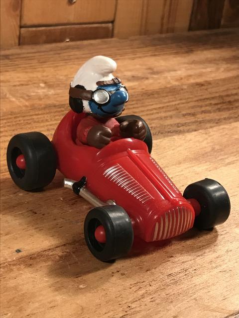 "Vintage Schleich Smurf ""Racing Car"" PVC Figure (3)"