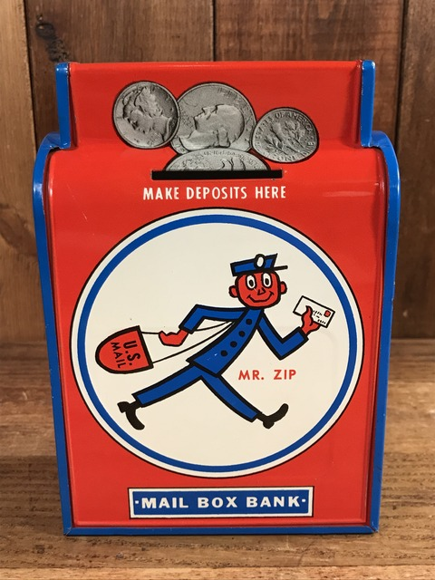 Vintage Mr. Zip Tin Mail Box Bank (1)