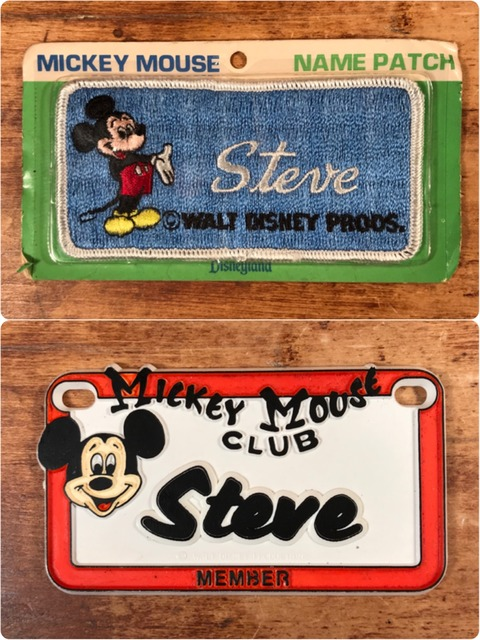 Vintage Disneyland Mickey Mouse Name Patch & Plate