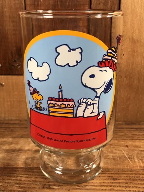 "Vintage Peanuts Snoopy ""Happy Birthday!"" Big Glass (1)"
