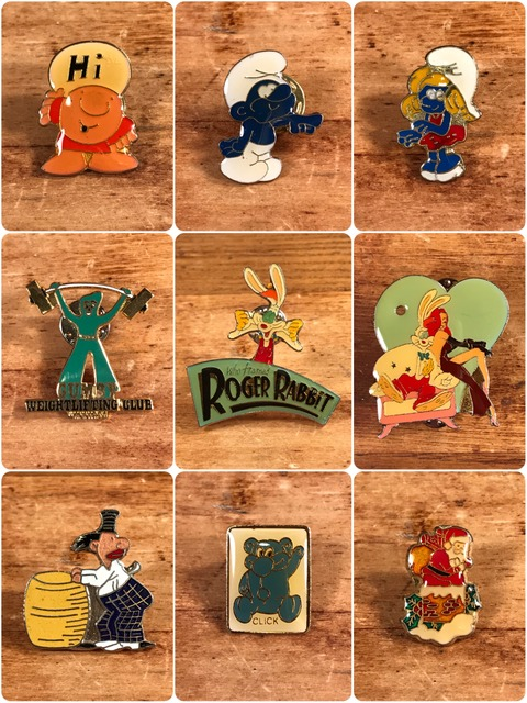 Vintage Character Metal Pins (3)
