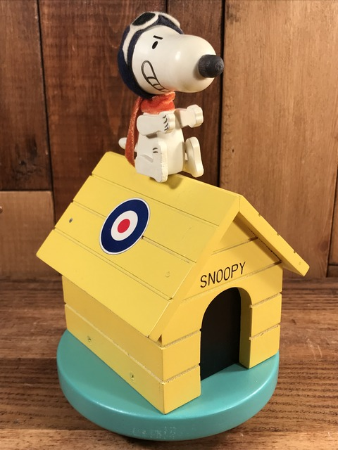 "Vintage Peanuts Snoopy Red Baron ""Flying Ace"" Music Box (1)"
