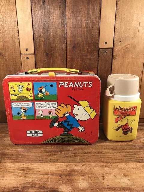 Vintage Thermos Peanuts Snoopy Metal Lunch Box (1)