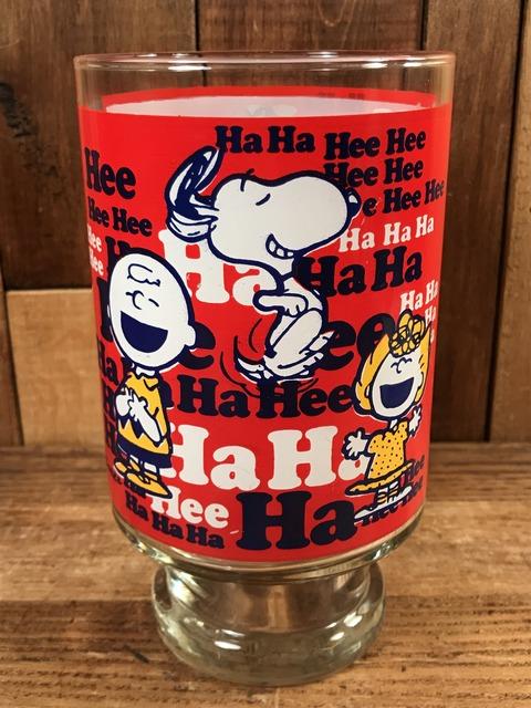 "Vintage Peanuts Snoopy ""Ha Ha Hee Hee"" Big Glass (4)"