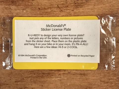 Vintage McDonald's Sticker License Plate (2)