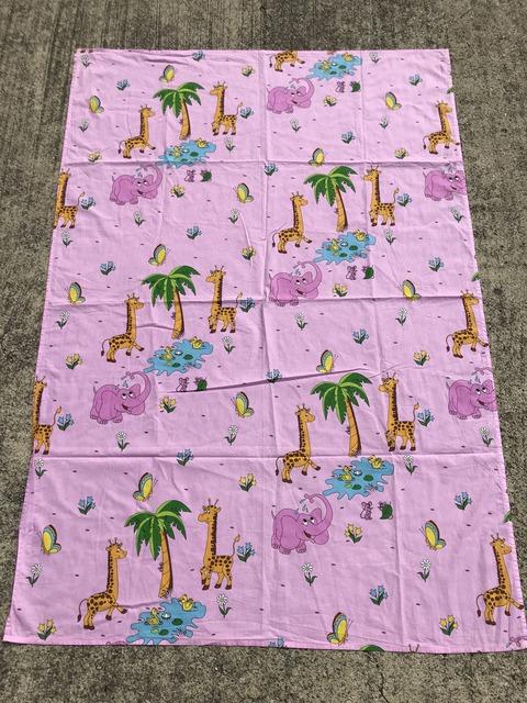 Vintage Pink Elephant & Giraffe Animal Flat Sheet (1)