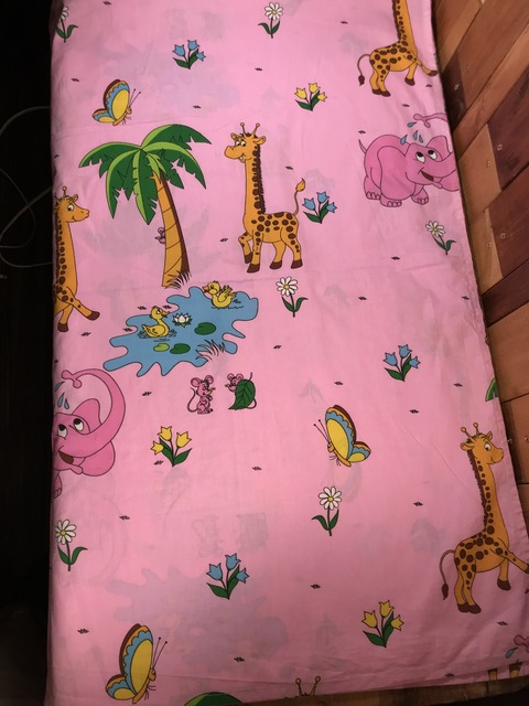 Vintage Pink Elephant & Giraffe Animal Flat Sheet (2)