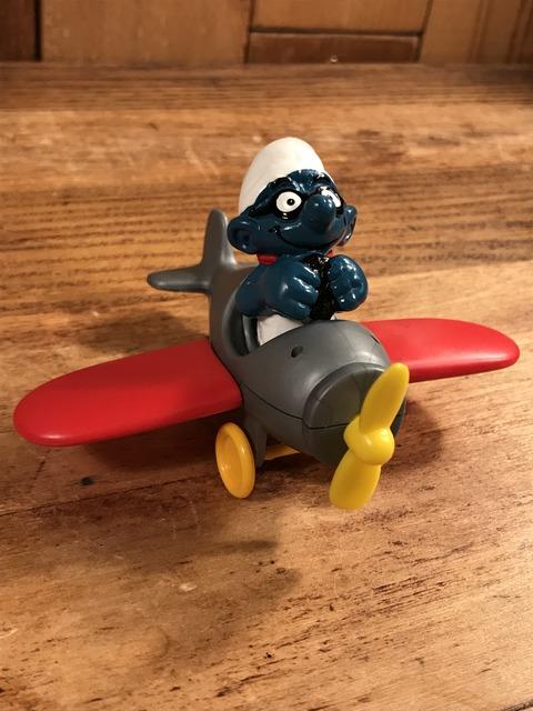 """Vintage Schleich Smurf """"Airplane"""" PVC Figure (27)"""