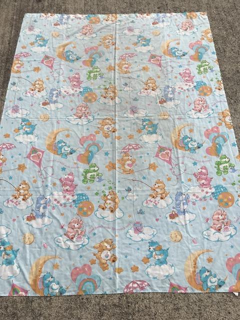 Vintage Care Bears Blue Twin Flat Sheet (1)
