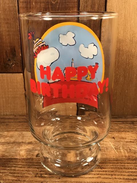 "Vintage Peanuts Snoopy ""Happy Birthday!"" Big Glass (4)"