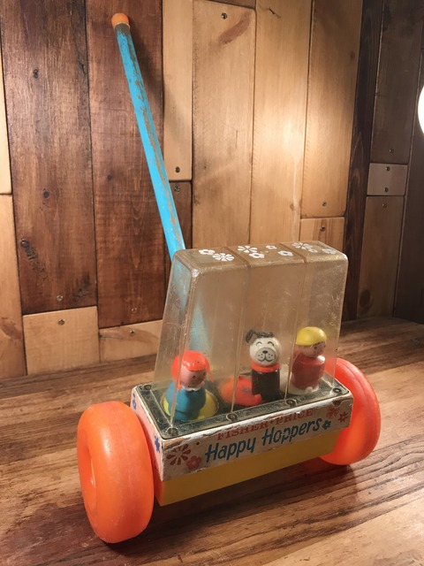 """Vintage Fisher Price """"Happy Hoppers"""" Push Pull Toy (5)"""
