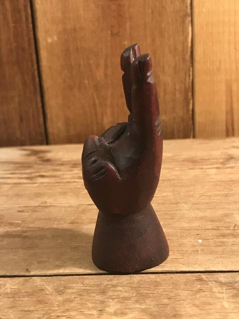 vintage wooden peace sign figurine (159)