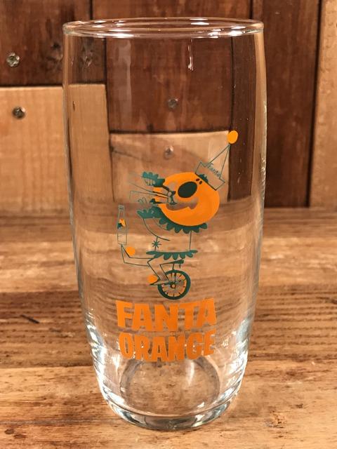 """Vintage Fanta Orange """"Unicycle"""" Glass (2)"""