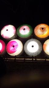 多彩な色彩の番傘のライトアップ(金沢・兼六園、November 24th,2012)