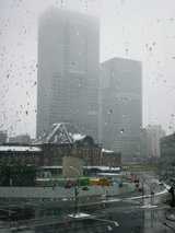 the Tokyo Station in snowing, viewed from Marubuil