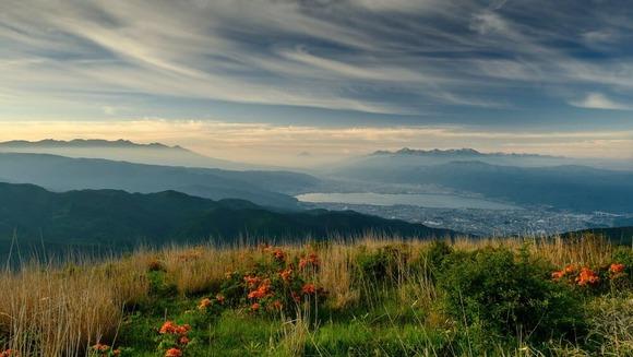 早朝の高ボッチから諏訪湖を見下ろす  (1)