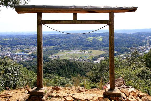 金刀比羅神社の鳥居越しに見る巾着田