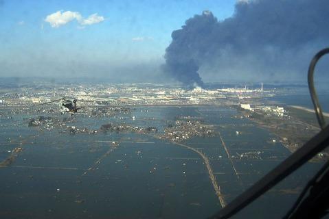 津波によって浸水した宮城県仙台市宮城野区沿岸