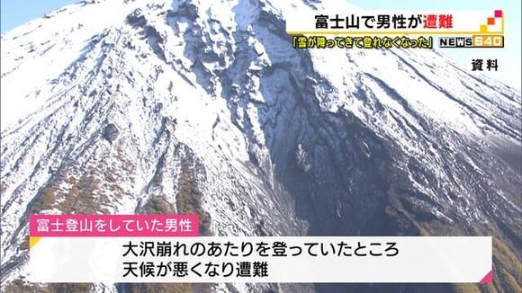 【静岡】富士山で男性が遭難…大沢崩れ付近から救助求める