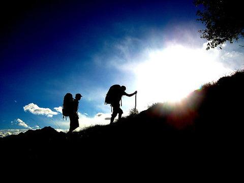 急登を登る登山者