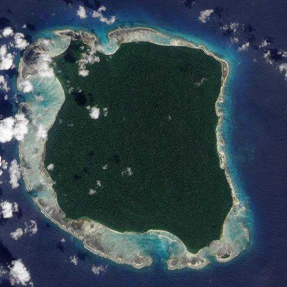 北センチネル島の航空写真(NASA)