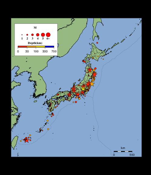 日本列島の地震分布図