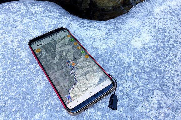 冬山でのアンドロイド携帯