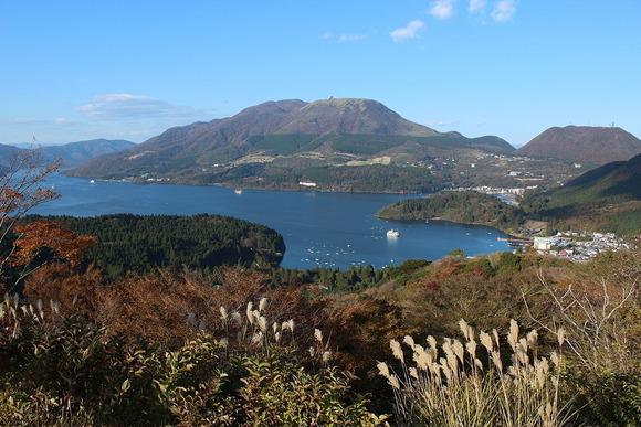 中央火口丘と芦ノ湖