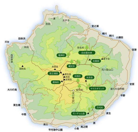 屋久島登山ルートマップ