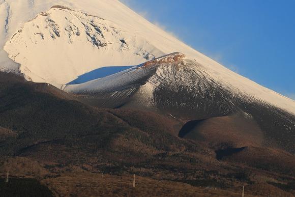 南側から望む宝永山の周辺 中央に宝永山