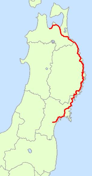 国道45号線の経路概略図