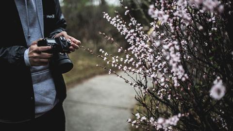 花の前でカメラを持つ人