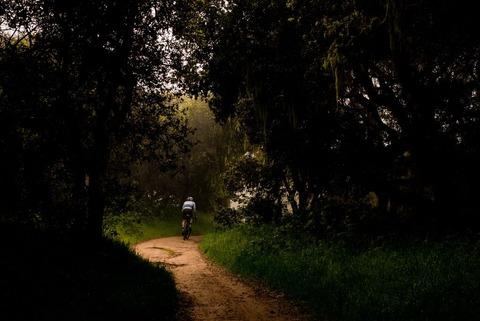 林道を走る自転車