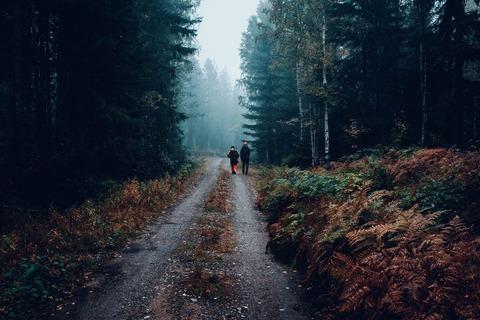 二人の猟師の後ろ姿