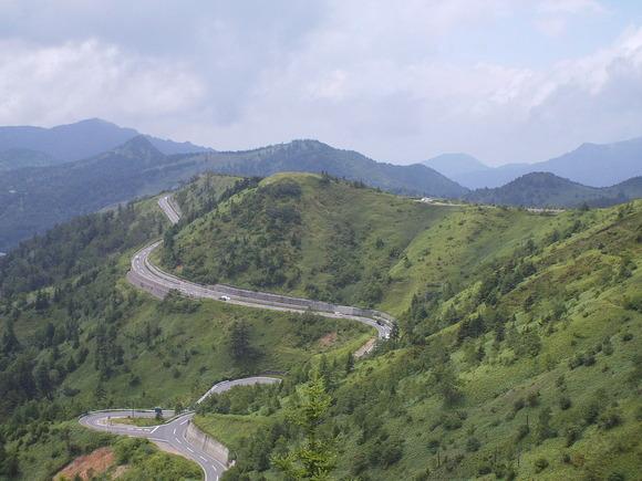 草津白根山中腹より国道292号の眺望