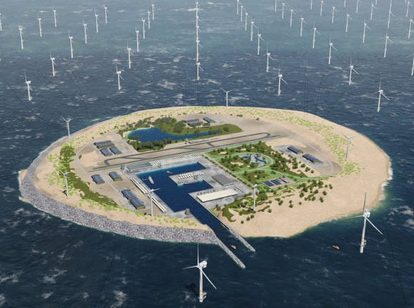 人工島と風力発電所の完成予想図