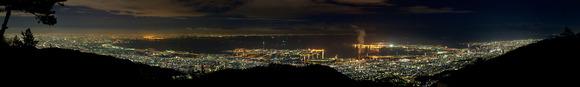 六甲山天覧台(六甲山上展望台)のパノラマ夜景写真