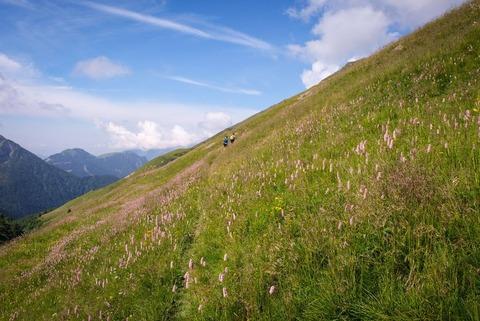 青空と登山道