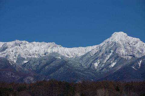 西麓より仰ぐ冬の八ヶ岳