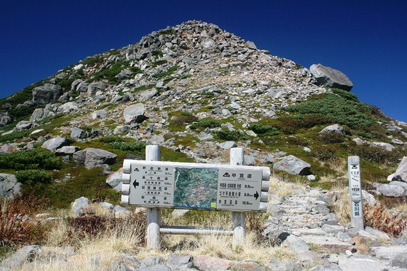 大汝峰と白山登山道の標識