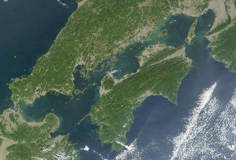 四国の衛星地図
