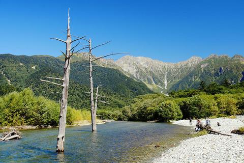 大正池と立ち枯れの木々と穂高岳