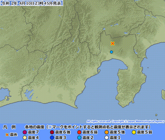 震度1以上が観測された地点 静岡県