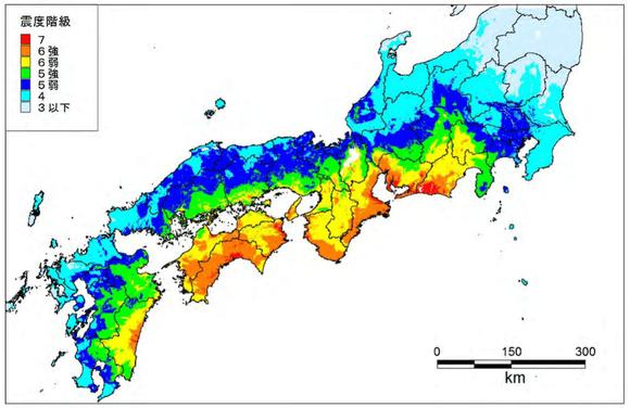 南海トラフ地震想定震度(内閣府資料より)
